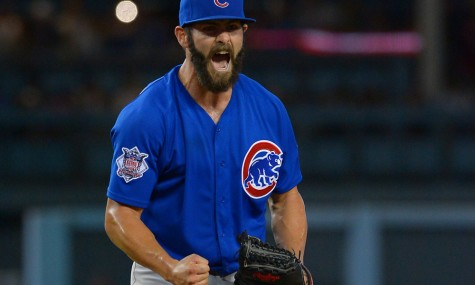 Aug 30, 2015; Los Angeles, CA, USA; Chicago Cubs starting pitcher Jake Arrieta (49) reacts after thawing his final pitch of the ninth inning for a no hitter against the Los Angeles Dodgers at Dodger Stadium. Cubs won 2-0. Mandatory Credit: Jayne Kamin-Oncea-USA TODAY Sports ORG XMIT: USATSI-217228 ORIG FILE ID: 20150830_mta_aj4_250.JPG