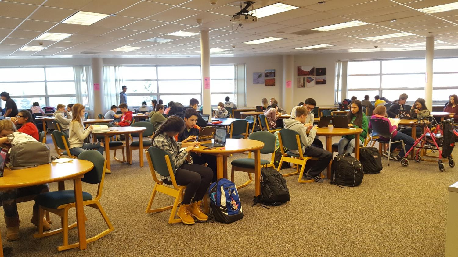 Freshman students working in Transition study hall