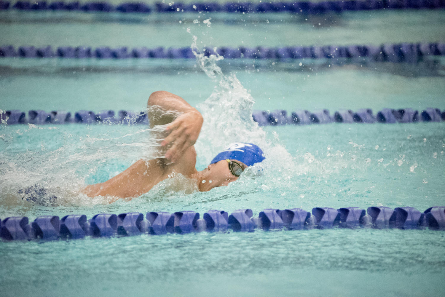 Calvin Yoon(12) sprints to the finish in the 50-yard freestyle at last year's dual meet against Maine East