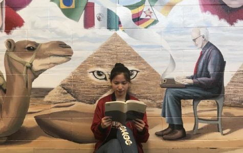 A girl sits reading a book in front of a mural depicting international flags.