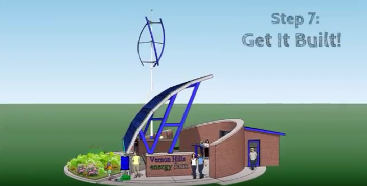 This illustration, courtesy of the Mulcrone brothers, depicts a potential design for an energy efficient classroom.