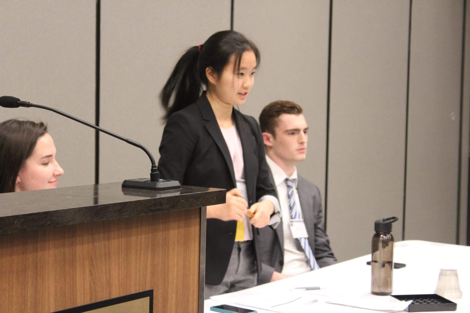Ceci Gao (12), Lieutenant Governor for JSA Midwest Cabinet, speaks at Fall State.