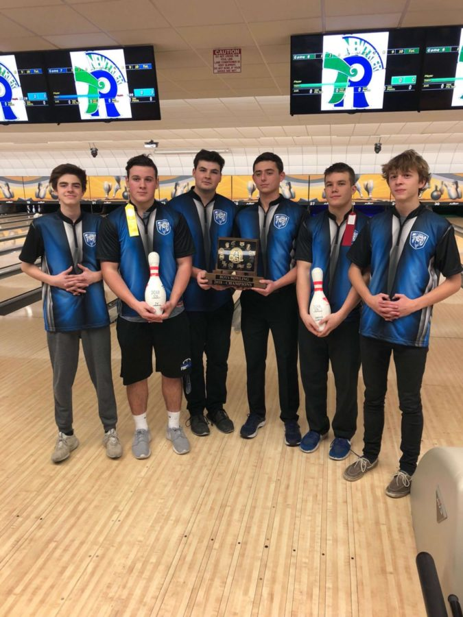 Seniors+Ben+Kushnir%2C+Derek+Jarrell%2C+Nick+McNamara%2C+Logan+Coty%2C+Jake+Morris%2C+and+Cooper+Guillaume+are+holding+their+first+place+conference+trophy.