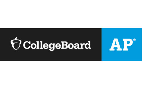 A graphic is split down the middle into a black and blue section. The blue section features the white CollegeBoard acorn and white text reading,