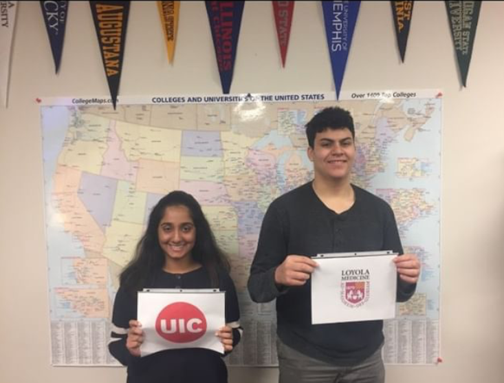 Ria Subramanian and Ibrahim Ben Hadj Tahar pose for a photo in the CRC.