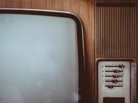 A close up photo of an old-fashioned television