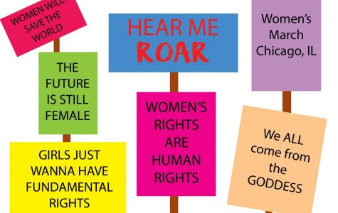 Drawn Billboards of various feminist slogans