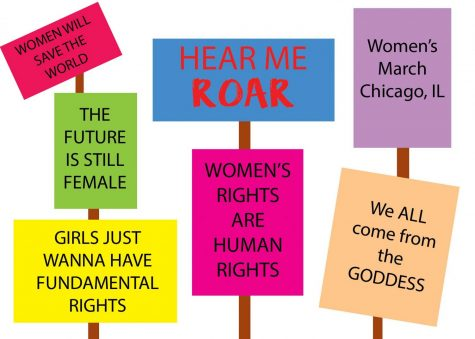 Drawn Billboards of various feminist slogans