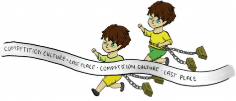 "Image showing runners racing through a line saying ""competition culture, last place."""