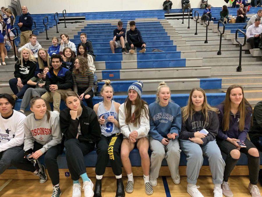 Students+attend+the+Varsity+Boys+Senior+Night+basketball+game+on+Feb.+10.