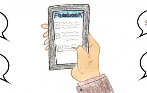 This is an illustration of a student holding a phone with the facebook app open, surrounded by the words