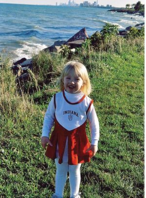 An image of Jane in her IU cheerleading outfit.