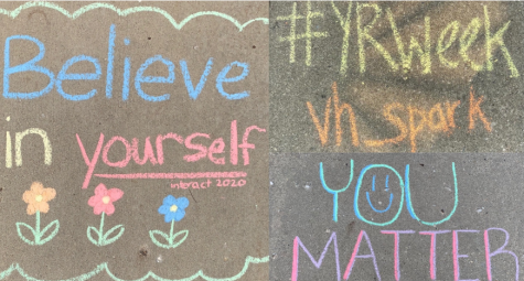 VHHS Interact member, Ashley Murphy (12), writes positive messages on her sidewalk for the Yellow Ribbon Week challenge.