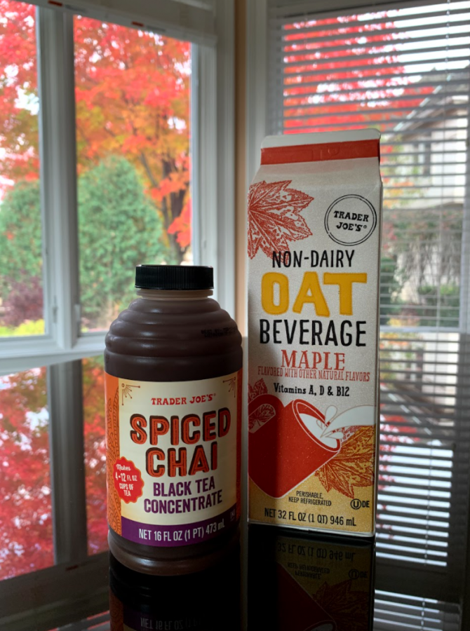 Pictured here is the Spiced Chai Black Tea Concentrate and Maple Oat Beverage from Trader Joe's next to each other.