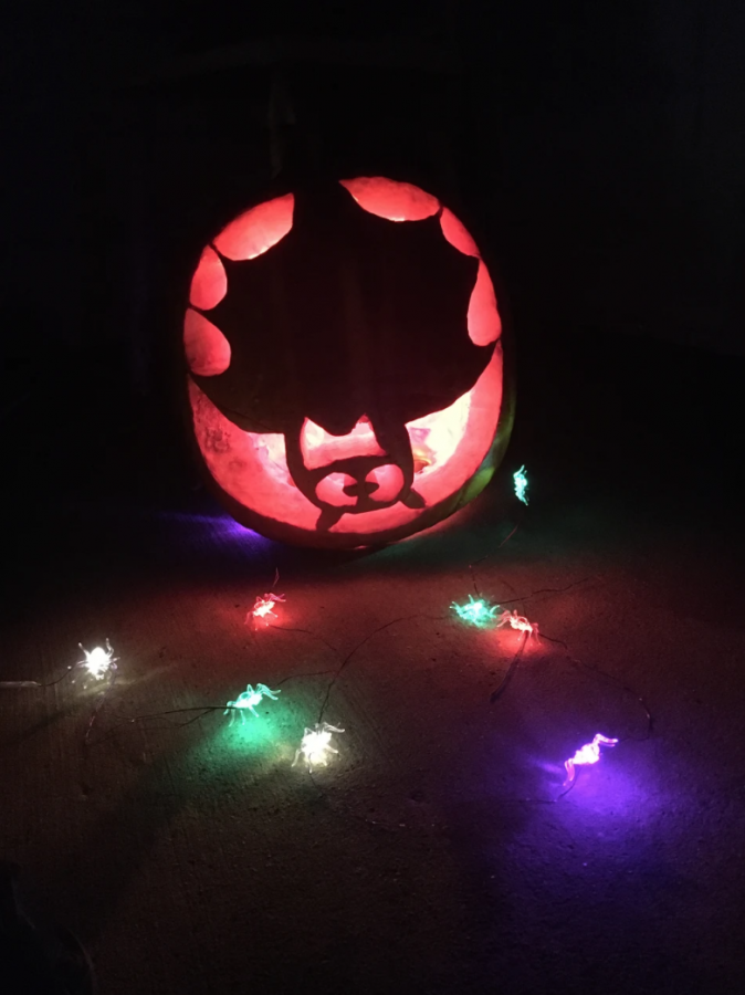Pictured is a pumpkin with an upside bat carved onto it surrounded by lights.