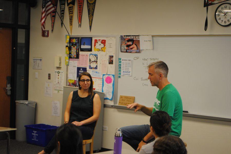Alumni Jessica Chiarella talks with Mr.Currys third period class.