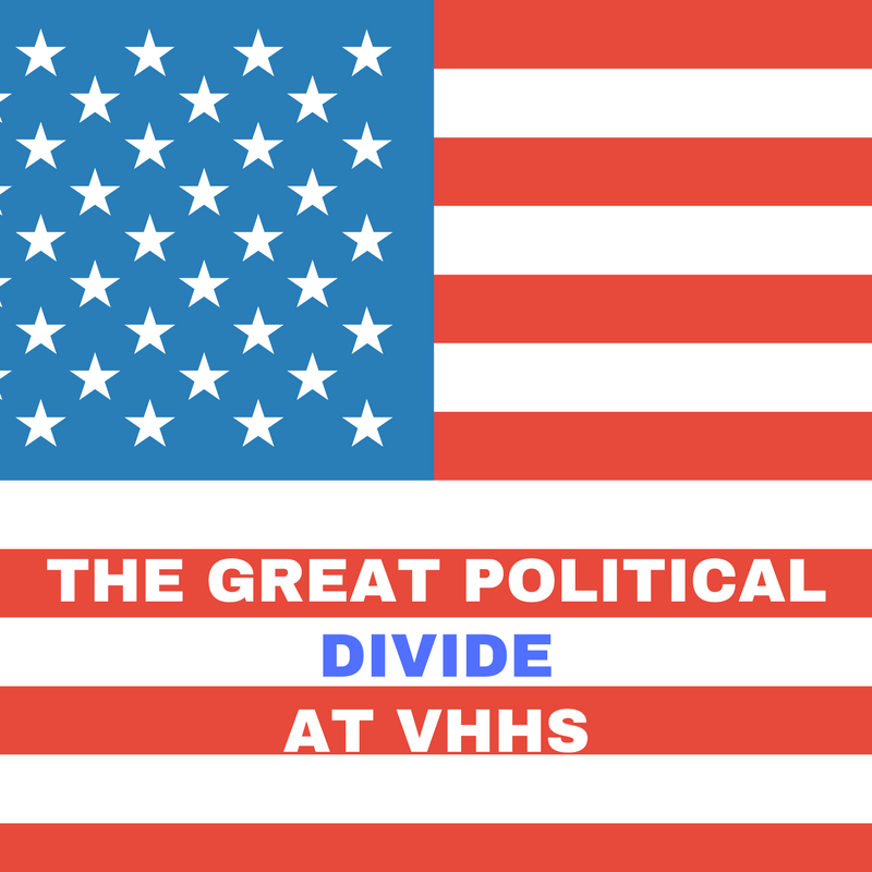 This photo shows an american flag with the text The great political divide at VHHS