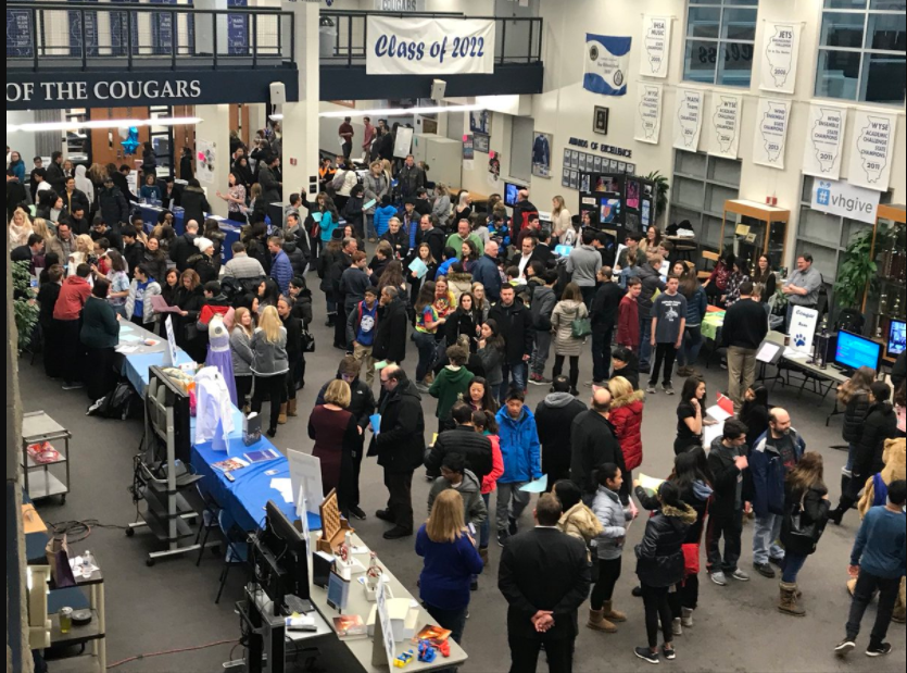 Eighth graders and families browse the many booths at this years Eight Grade Orientation