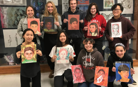 Art students paint portraits for refugees