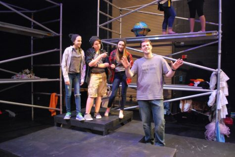 """Eli (second from the left) acts in the 2015 freshman and sophmore play """"30 Reasons Not To Be in a Play"""" with castmates Samantha Kolber, Darby Barnett, and Mr. Killinger."""