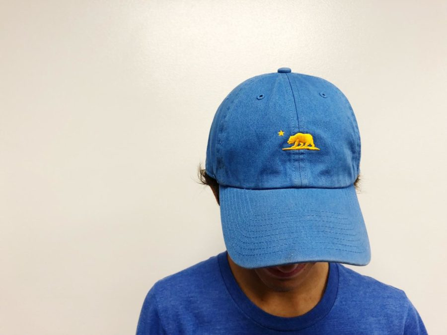 A boy with his head down displays a light blue hat with a yellow bear on it. The boy wears a blue shirt and you cannot see his face.