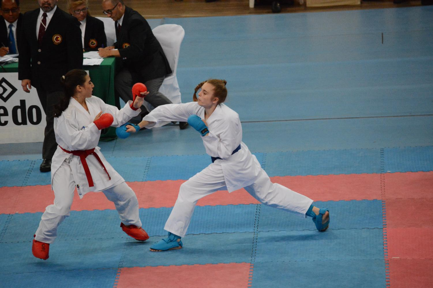 Magdalena (right) competes at the Pan American championships in Brazil in August 2018.