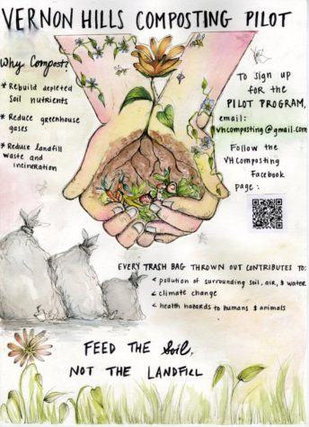 This is a poster illustrated by Sneha Akurati that promotes the new composting program.