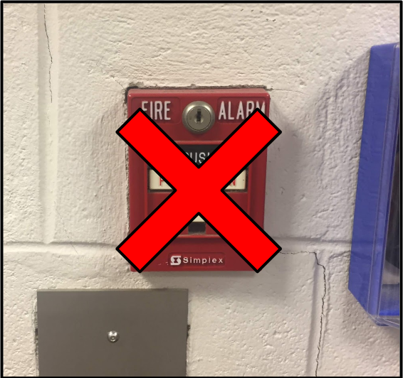 A red fire alarm is overlayed with a red X.