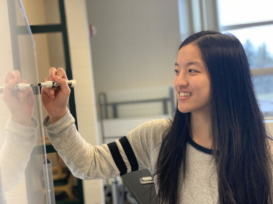 This is a photo of Rachel Liu writing on a white board.