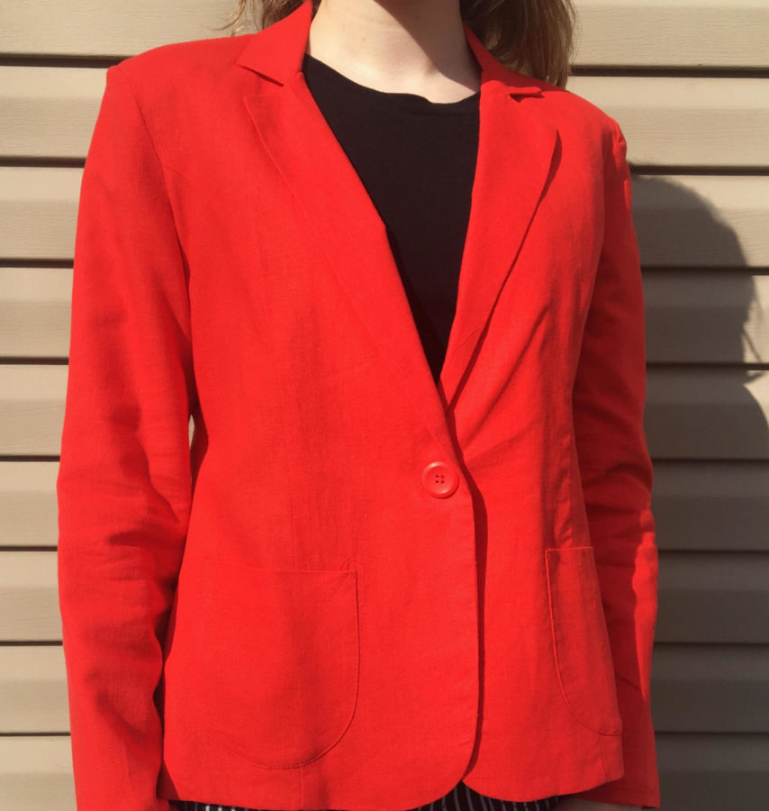 A red blazer with a black t-shirt underneath