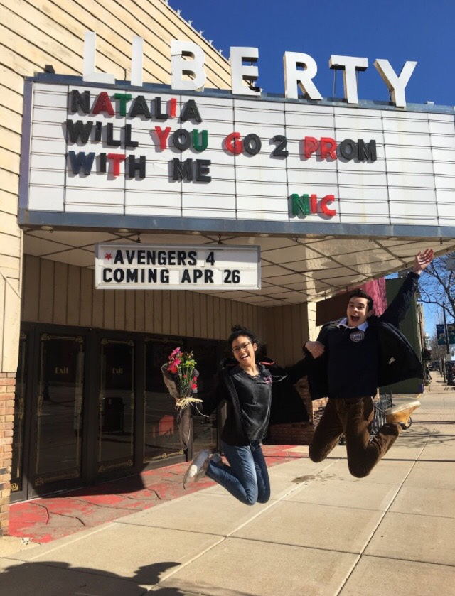 Nic+Dantes+%2812%29+asks+Natalia+Palafox+%2812%29+to+prom+at+the+Liberty+Theater+in+downtown+Libertyville.