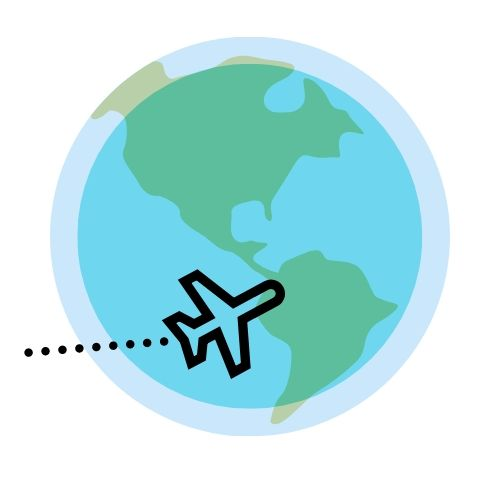A student produced illustration showing an airplane circling around the earth.