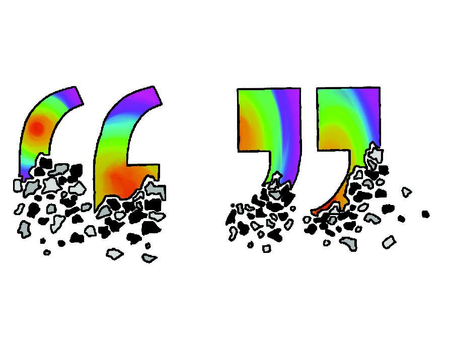 Rainbow+quotation+marks+dissolve+from+the+bottom%2C+symbolizing+the+end+of+senior+quotes.