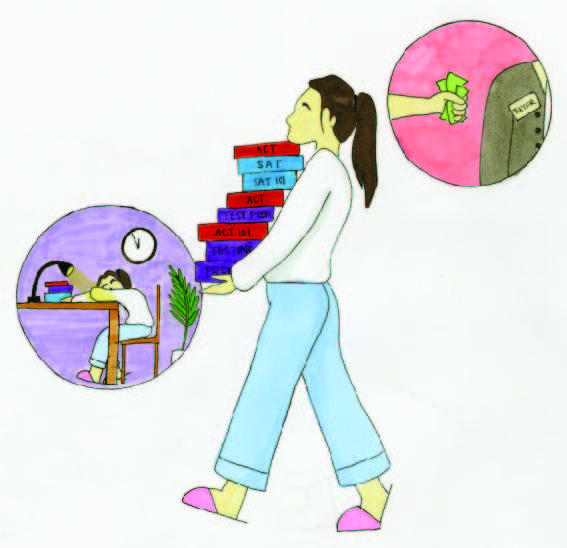 Illustration depicting a student carrying a lot textbooks