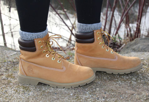 A picture of light brown timberland boots.
