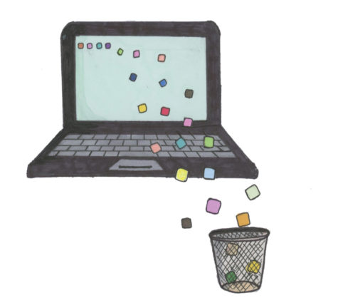 Illustration showing chrome extensions coming off of the laptop and into the trash can