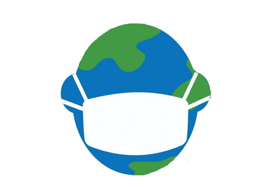 Image of a globe of an earth with a mask on it.