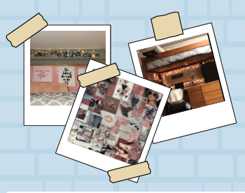This is a collage of photos of dorm rooms.