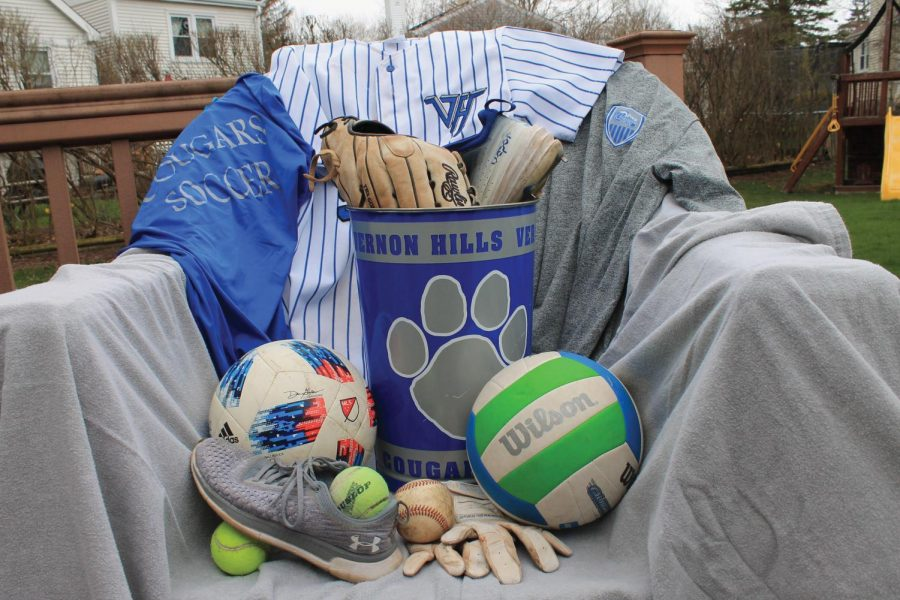 Various sports equipment like jerseys and baseball gloves go unused and will be thrown away.