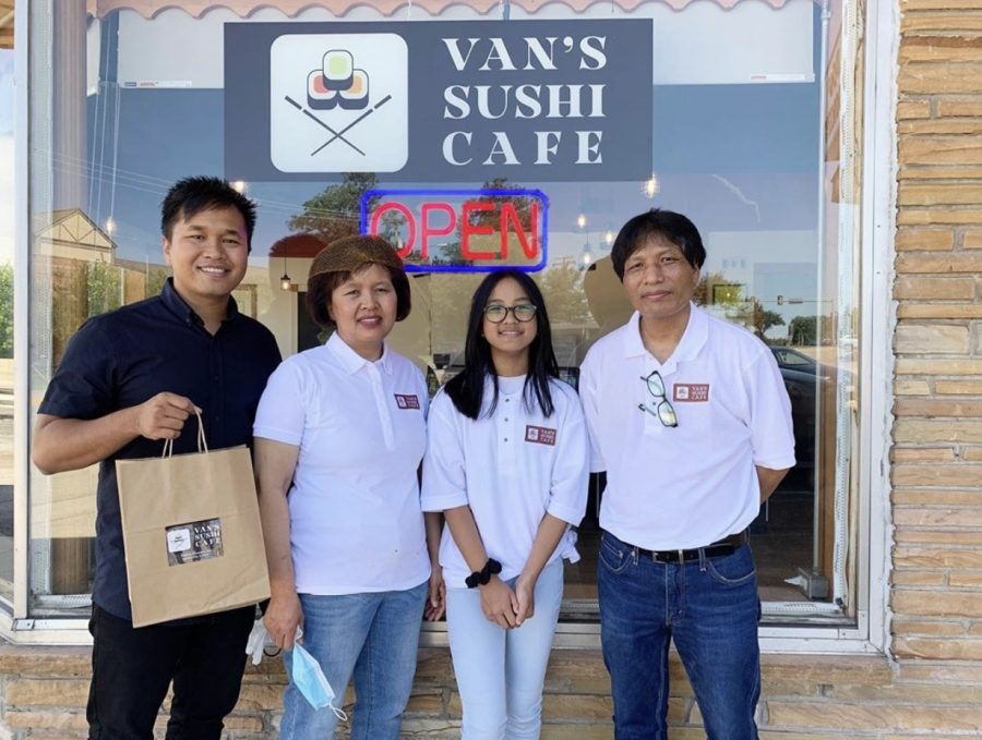 The four members of the Ceu family stands outside Van's Sushi Cafe.