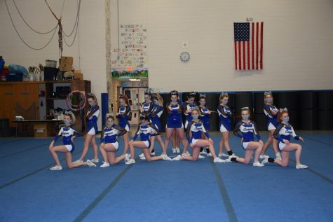 The Cougars Varsity Cheer Team takes the floor duirng an e-competition in February.