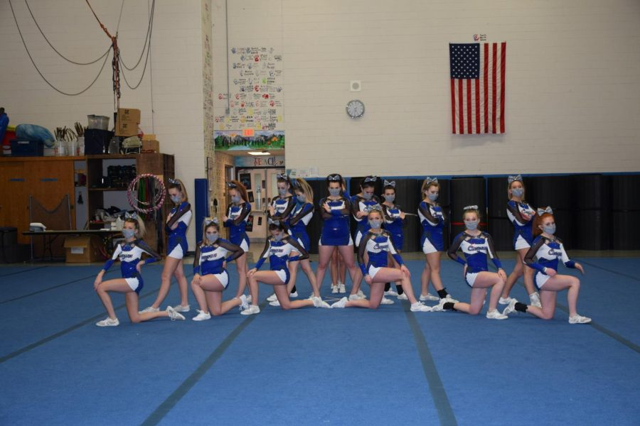 The+Cougars+Varsity+Cheer+Team+takes+the+floor+duirng+an+e-competition+in+February.