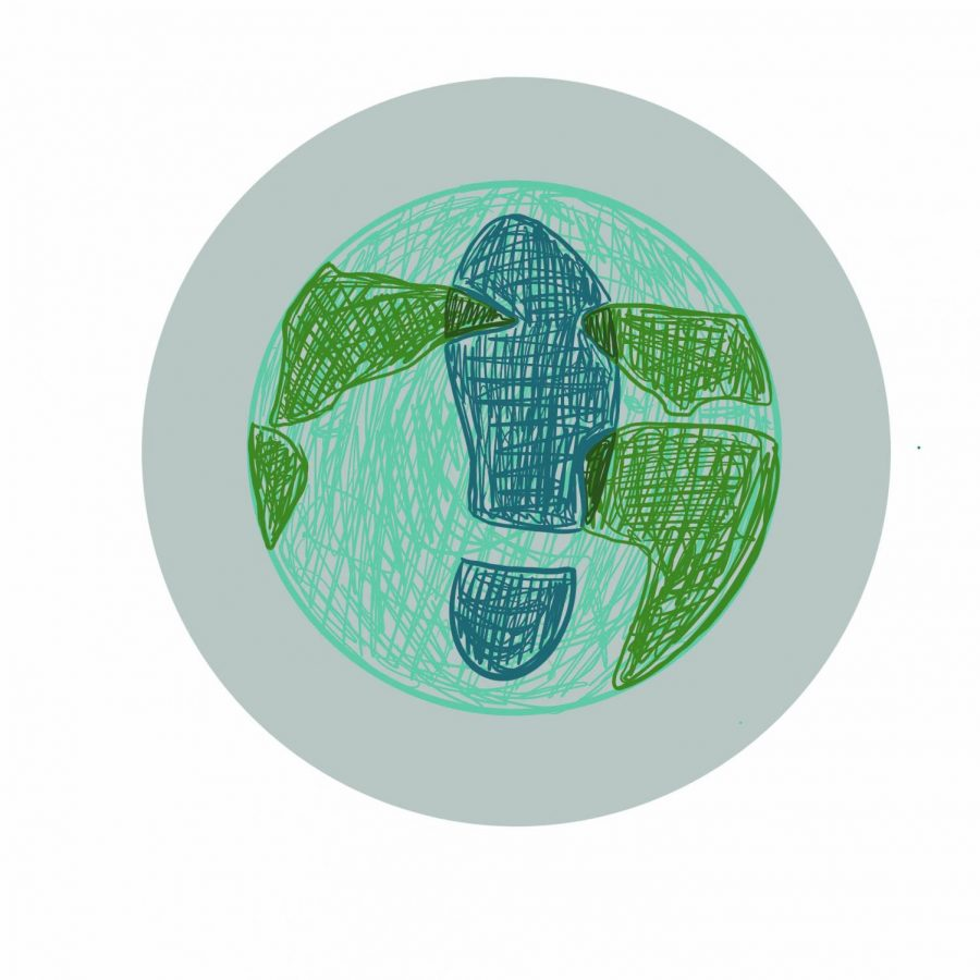 A drawing of a foot print stamped on a drawing of the Earth, representing a carbon footprint.