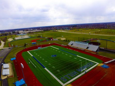 A Birds eye view of Rustoleum Football Field. The field where the cougar football team plays.