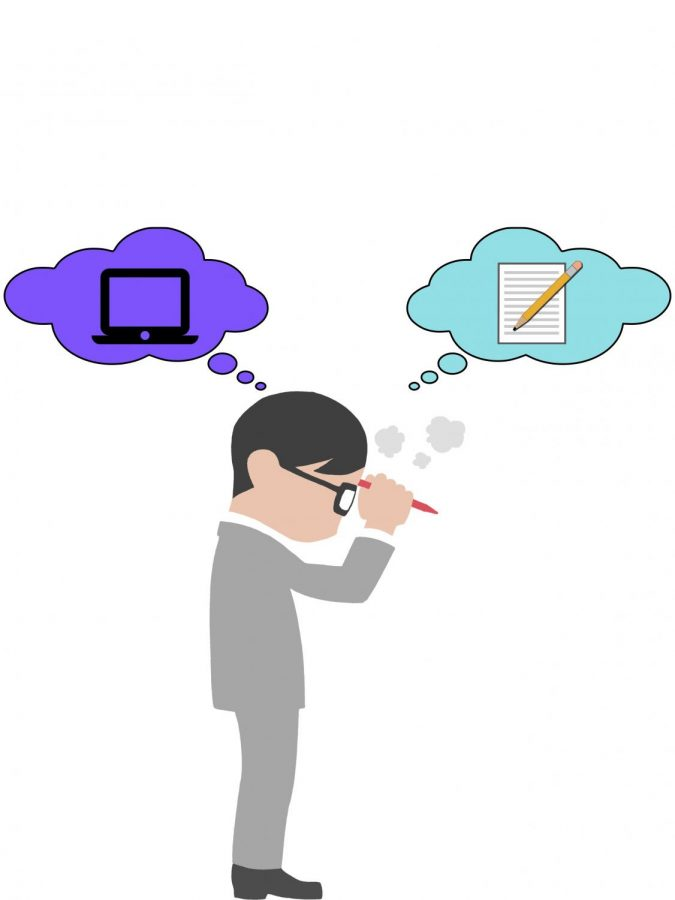 An illustrated man stands debating between online and in person tests.
