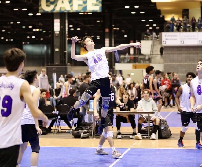 Pictured here is Jack McDonald playing volleyball.