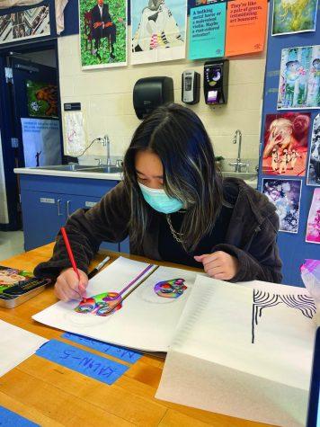 Pictured is Kalyn Watt drawing as she continues her progress on her AP Art portfolio as the deadline nears.