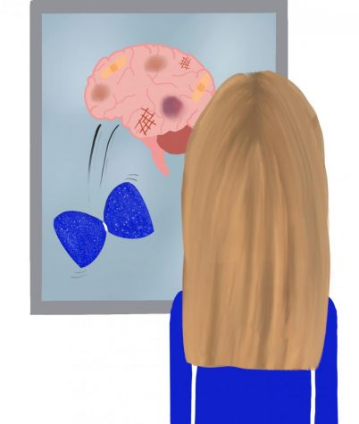 An illustrated girl looks into a mirror and sees an injured brain and a cheerleaders bow falling off the brain.