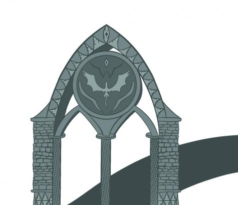 A grey, illustrated gateway represents the beginning of Isays path as a writer.