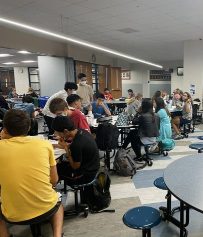 Students devour food during 7th period lunch.